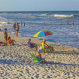 people enjoy the beautiful beach in St. Augustine USA